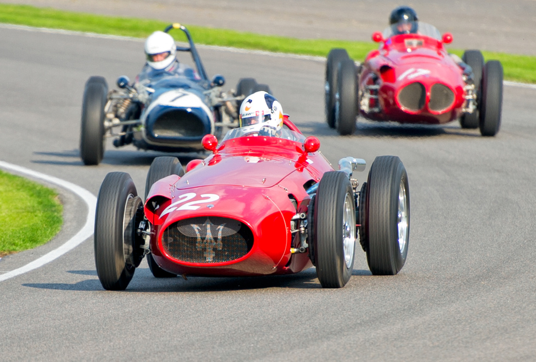 Allan Miles enters Madgwick corner the Maserati 250F