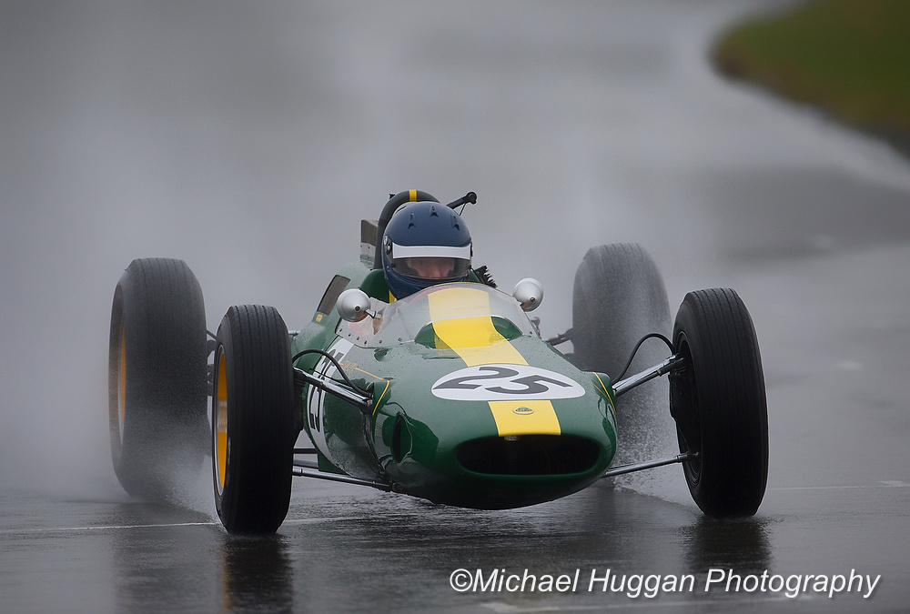 Andy Middlehurst in his Lotus 25 at Circuit de Croix en Ternois, France. Photo: Michael Huggan