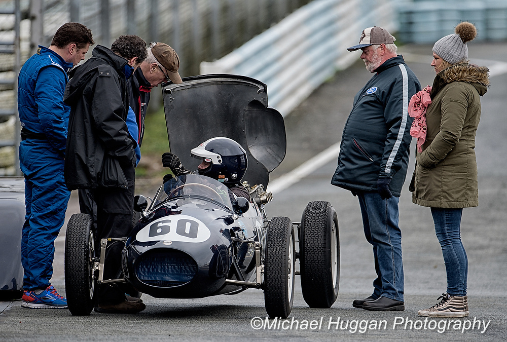 Sid Hoole in the Cooper Climax T41 offers advice at Circuit de Croix en Terns, France. Photo: Michael Huggan