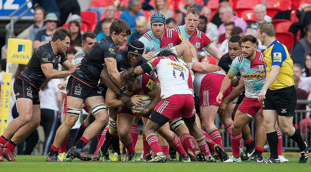 Rugby Saracens v Harlequins at Wembley. Full on tackle at the Saracens v Harlequins rugby match