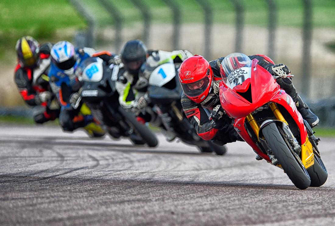 James Harrington on his Yamaha R6 leads the pack.