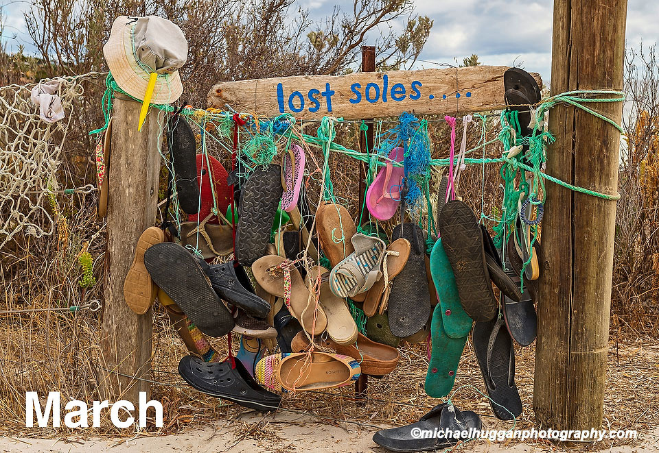A collection of footwear left, or washed up on the beach on Kangaroo Island, South Australia.