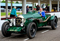 Peter Little in the 1926 Bentley 3.4 1/2L in the pit lane with guest at Benjafield's Sprint