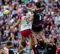 James Horwill (5) and Michael Rhodes (6) go for the ball