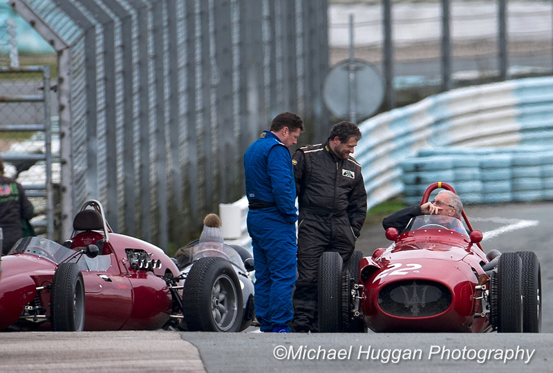 Elliott Hann, Steve Hart and Gerry Han with the Maserati 250F at Circuit de Croix en Ternois, France. P
