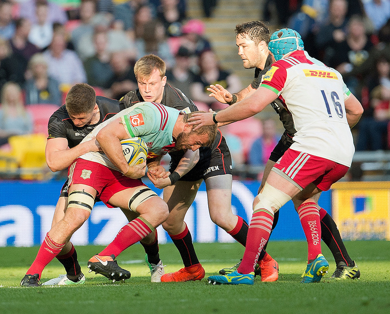 Chris Robshaw of Harlequins with the ball at the Saracens v Harlequins rugby Wembley 6 April 2017. Photo: Michael Huggan