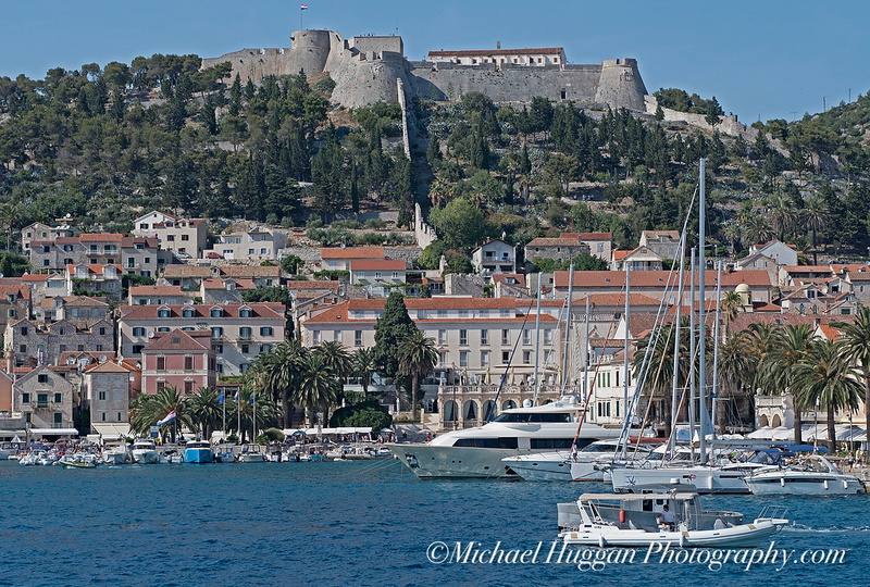 Approaching Hvar with the Fort above the harbour