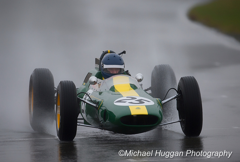 Andy Middlehurst in his Lotus 25 at Circuit de Croix en Ternois, France. Photo: Michael Huggan