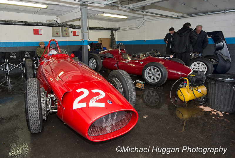Maserati 250F next to Cooper Maserati T51 garage at Circuit de Croix en Ternois, France. Photo: Michael Huggan