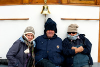 Julia, Ron and Jan on the bow of the MV Discovery