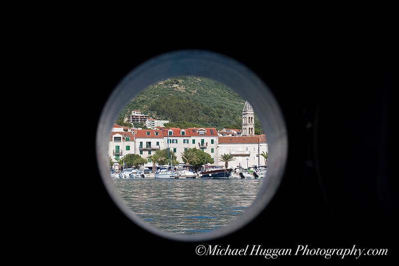 Porthole view of Makarska harbour