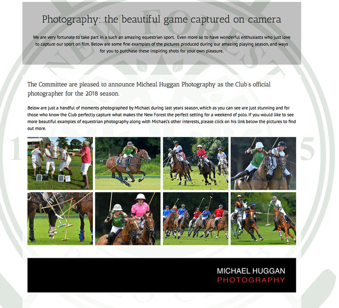 Michael Huggan is appointed as the official photographer for the New Forest Polo Club.