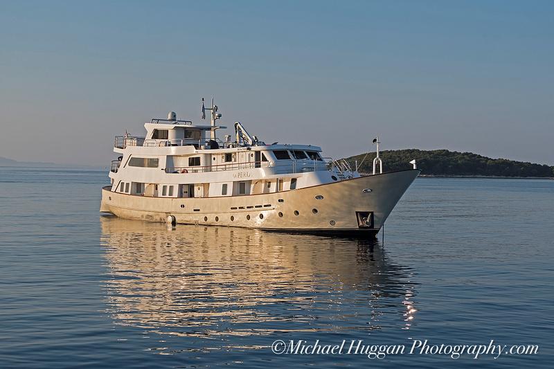 Early morning light on yacht in Hvar harbour