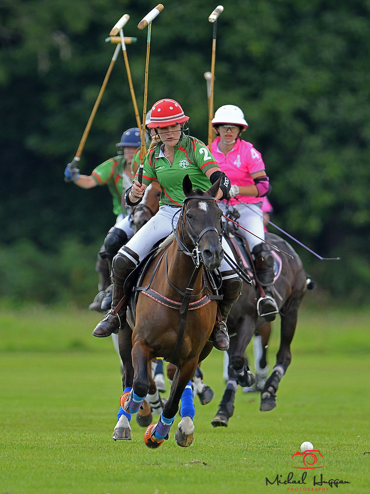 Akuma Pink v New Forest in the Women's Festival at the New Forest Polo Club 5th August 2017. Photo: Michael Huggan