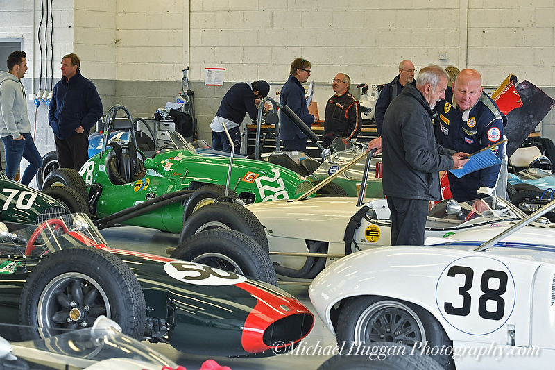 A busy garage at the HGPCA Practice day Silverstone